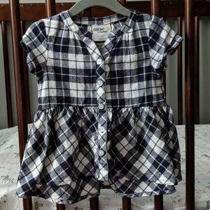 OshKosh Black/White Plaid Peplum Shirt - Size 2T